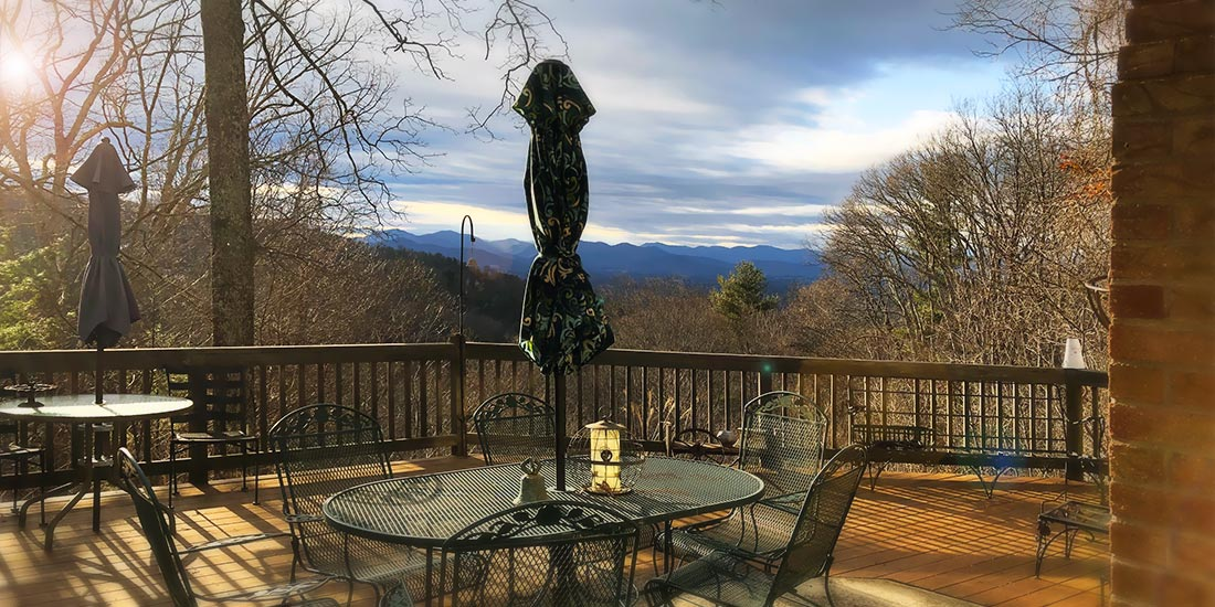 Sunset Cabin Rental deck view Asheville Cottage Rental