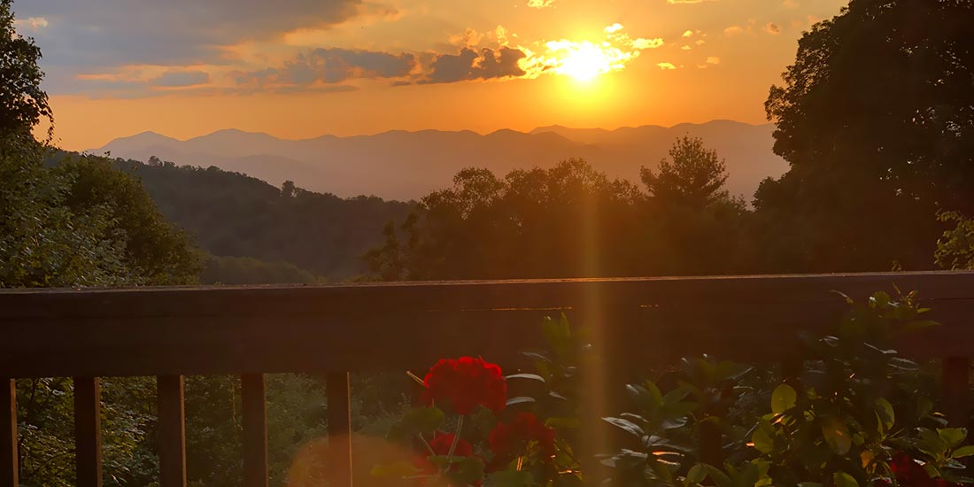 Sunset Cabin Rental sunset view Asheville Cottage Rental